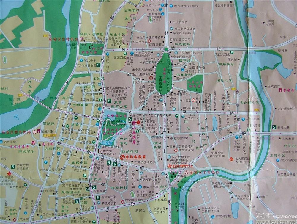 六安市的市中心地图